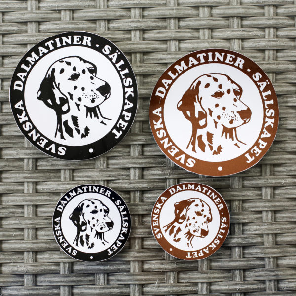 Klistermärken med Svenska Dalmatiner Sällskapets logo
