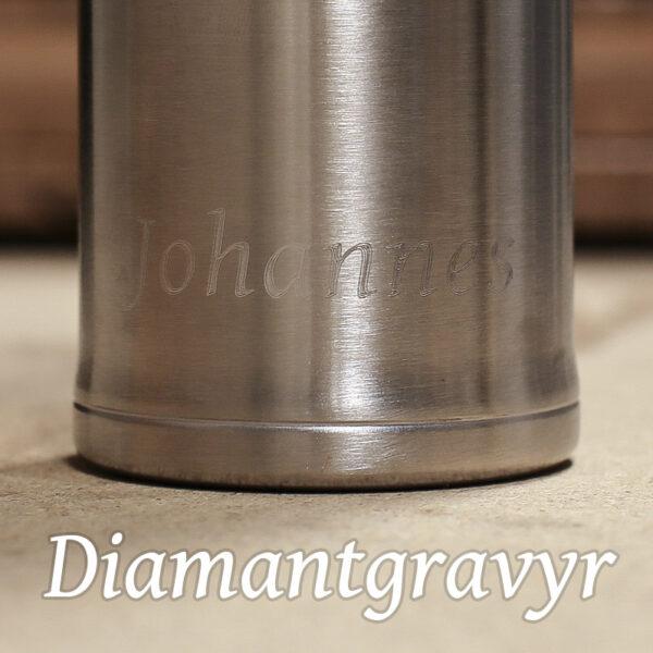 Bild på diamantgraverad termosflaska i rostfritt stål