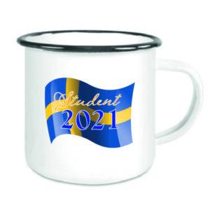 Emaljerad mugg med sverigeflagga + student 2021
